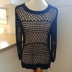 CHRISTIAN SIRIANO Black Open Weave Sweater sz S